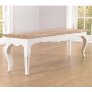 Sienna Wooden Dining Bench In Oak And White