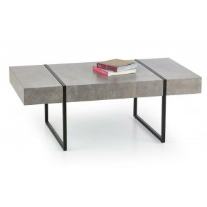 Trevon Coffee Table In Stone Effect With Black Metal Legs