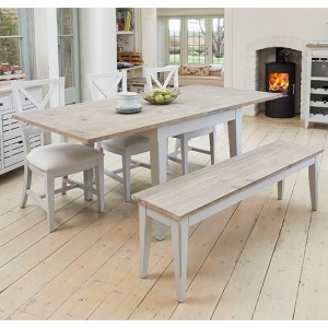 Signature Extending Square Dining Table In Grey With 1 Bench And 2 Chairs