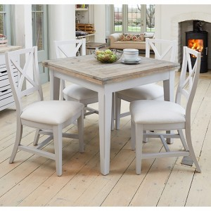 Signature Extending Square Dining Table In Grey With 4 Chairs