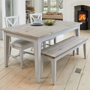 Signature Extending Wooden Dining Table In Grey With 1 Bench And 4 Chairs