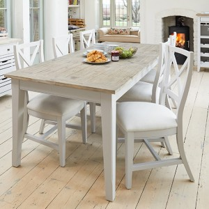 Signature Extending Wooden Dining Table In Grey With 6 Chairs
