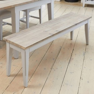 Signature Large Wooden Dining Bench In Grey And Oak