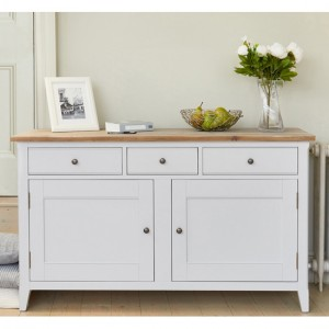 Signature Large Wooden Sideboard In Grey And Oak