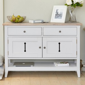 Signature Small Wooden Sideboard In Grey And Oak