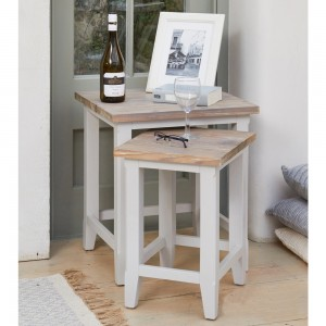 Signature Wooden Nest of 2 Tables In Grey And Oak