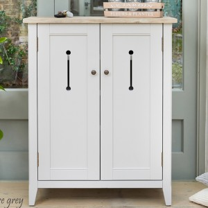 Signature Wooden Shoe Storage Cabinet In Grey And Oak