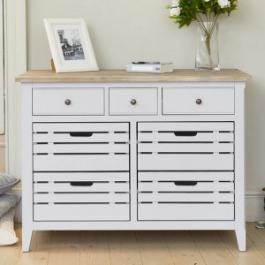 Signature Wooden Sideboard In Grey And Oak
