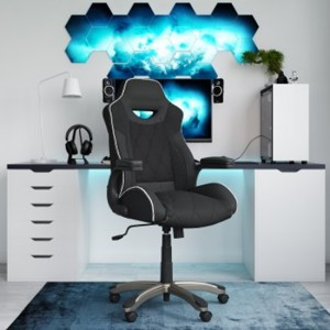 Silverstone Microfibre And Faux Leather Gaming Chair In Black