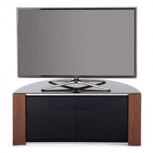 Sirius Corner TV Stand In Black High Gloss And Oak Walnut With Push Release Doors