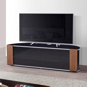 Sirius Large Corner Black Gloss Wooden TV Stand In Oak And Walnut