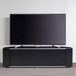 Sirius Large Corner TV Stand In Black High Gloss With Push Release Doors