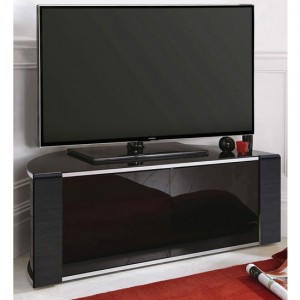 Sirius Small Corner TV Stand In Black High Gloss With Push Release Doors
