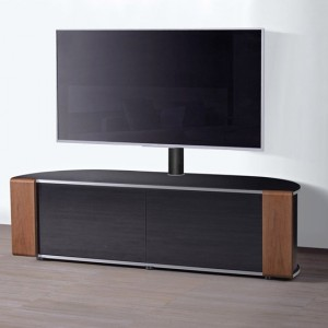 Sirius TV Stand Corner In Black High Gloss And Oak Walnut With Push Release Doors