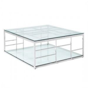 Skyler Clear Glass Square Coffee Table Silver Strainlees Steel Frame