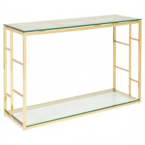 Skyler Glass Console Table With Golden Frame