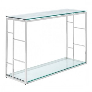 Skyler Glass Console Table With Stainless Steel Frame