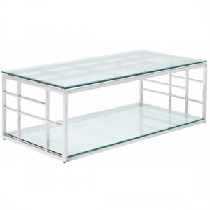Skyler Rectangular Glass Coffee Table With Stainless Steel Frame