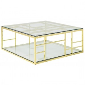 Skyler Square Glass Coffee Table With Golden Frame