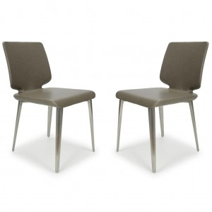 Skypod Square Armless City Grey Leather Dining Chair In Pair
