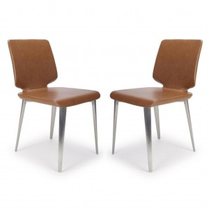 Skypod Square Armless Urban Tan Leather Dining Chair In Pair
