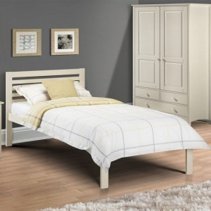 Slocum Wooden Single Bed In Stone White