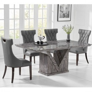 Mocha Large Grey Marble Dining Table With Six Dewall Chairs