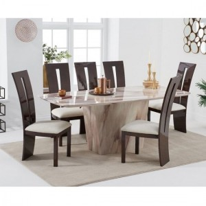 Rome Marble Dining Table In Brown With Eight Arizona Chairs