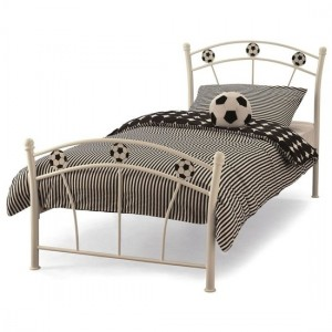 Soccer Metal Single Bed In White Gloss