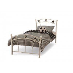Leoni Contemporary Metal Single Bed In White Finish