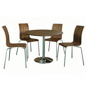 Soho Wooden Dining Set In Walnut With 4 Chairs