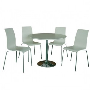 Soho Wooden Dining Set In White With 4 Chairs