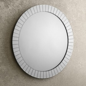 Sonata Large Round Wall Mirror In Silver