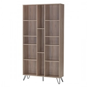 Sonoma Large Oak Effect Bookcase With Black Metal Legs