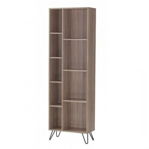 Sonoma Wooden Narrow Bookcase In Oak Effect With Black Metal Legs