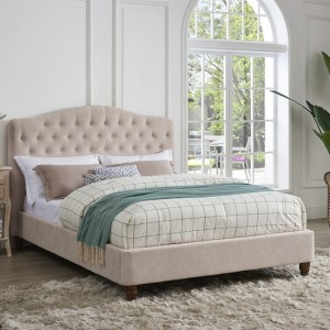 Sorrento Chenille Fabric Double Bed In Pink