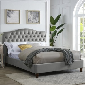 Sorrento Chenille Fabric King Size Bed In Cappuccino