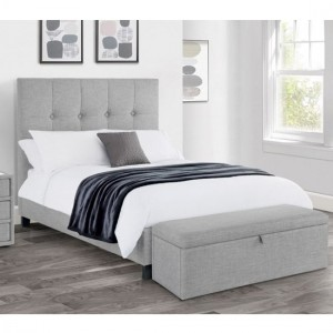 Sorrento High Headboard Linen Fabric King Size Bed In Light Grey