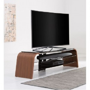 Spectrum Large Wooden TV Stand In Walnut With Black Glass