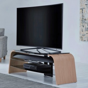Spectrum Wooden TV Stand In Light Oak With Black Glass
