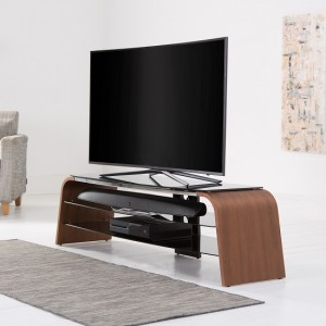 Spectrum Wooden TV Stand In Walnut With Black Glass