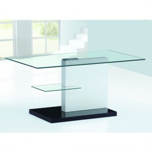 Spiers Glass Coffee Table With White And Black High Gloss Base