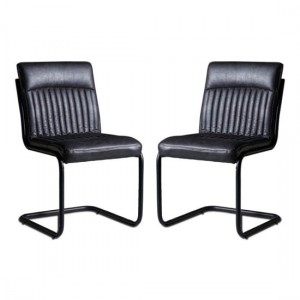 Sreka Dark Grey Faux Leather Dining Chairs In Pair