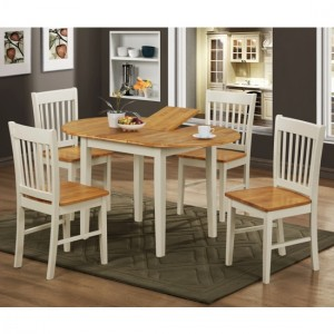 Stacey Extending Wooden Dining Set In Natural Oak And White With 4 Chairs