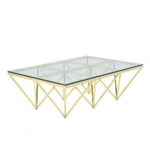 Star Glass Coffee Table Rectangular In Gold Finish Frame