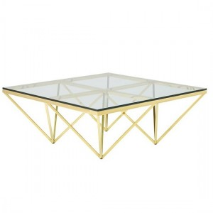 Star Glass Coffee Table Square In Gold Finish Frame