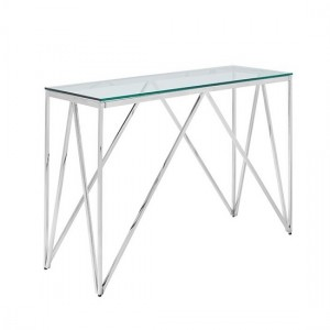 Star Glass Console Table In Clear With Silver Finish Frame
