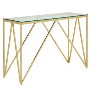 Star Glass Console Table Rectangular In Gold Finish Frame