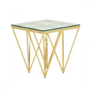 Star Glass Lamp Table Square In Gold Finish Frame