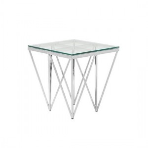 Star Glass Lamp Table Square In Silver Finish Frame